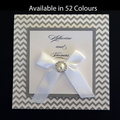 This wedding invitation comes as a kit which needs assembly. It is printed with a chevron pattern which is available in more than 50 colours. www.kardella.com