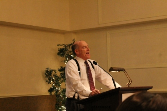 James Spann talking at the luncheon.