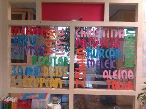 Wordle painted on the window with children's name on it :)