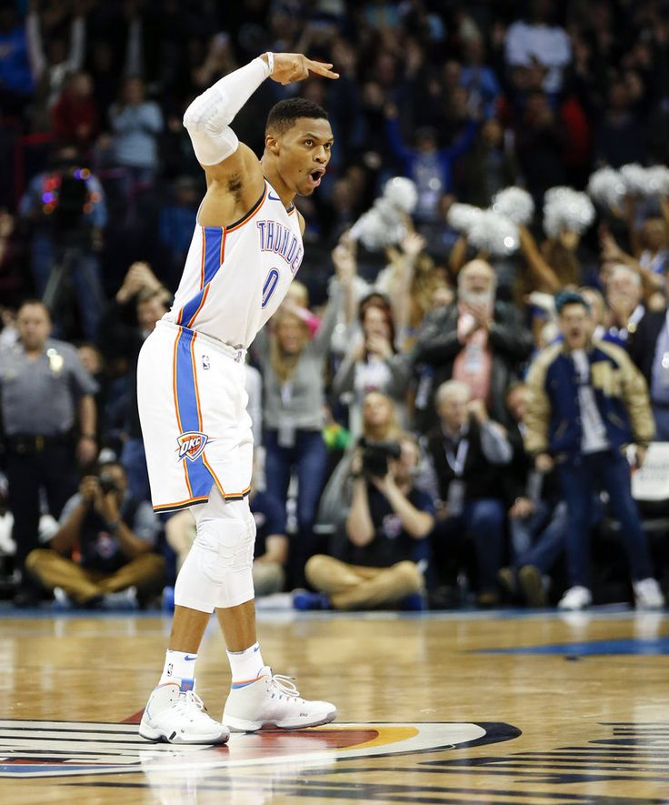 Oklahoma City's Russell Westbrook (0) reacts after making the game-winning shot during an NBA basketball game between the Oklahoma City Thunder and the Atlanta Hawks at Chesapeake Energy Arena in Oklahoma City, Friday, Dec. 22, 2017. The Thunder won 120-117. Photo by Nate Billings, The Oklahoman