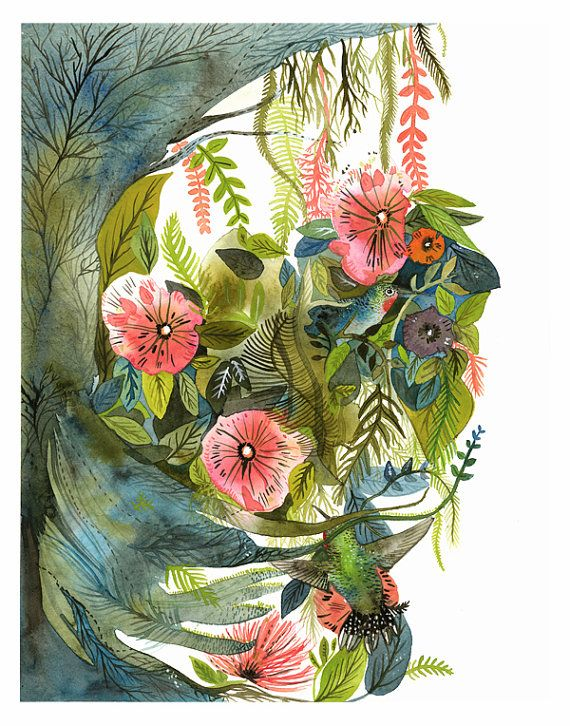 Hummingbirds- Archival print of Original Painting, botanical, bird art  Amber Alexander on Etsy  http://www.etsy.com/people/amberalexander