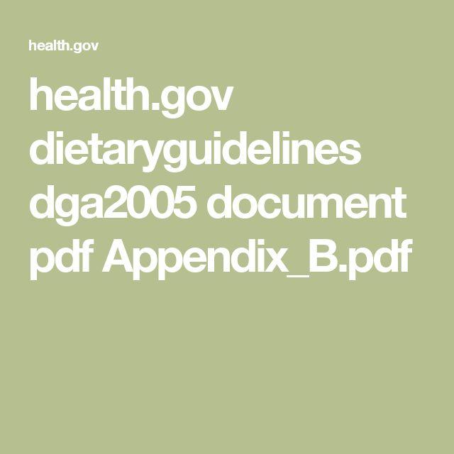 health.gov dietaryguidelines dga2005 document pdf Appendix