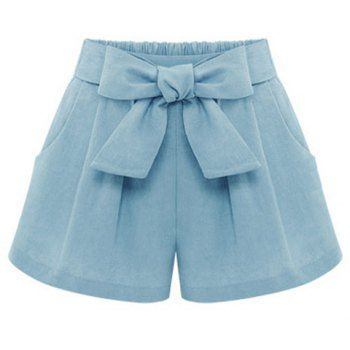 $16.21 Stylish Elastic Waist Bowknot Embellished Wide Leg Linen Women's Shorts