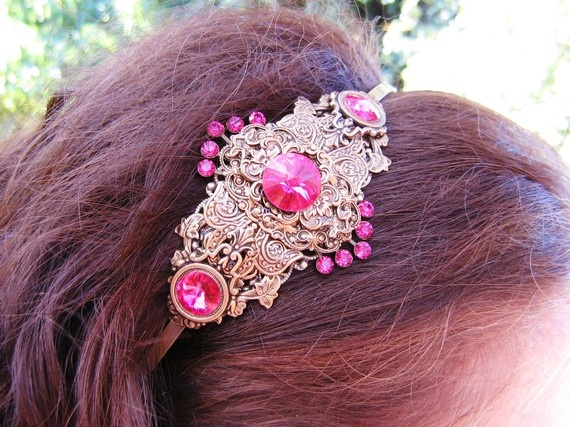 Beautiful Fuchsia  Head Band by alkazdesign on Etsy, $35.00