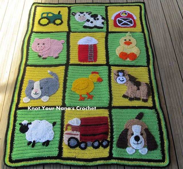 Ravelry: Farm Blanket (minus appliques) pattern by Teri Mitchell  SHout OUT!  Cute & Adorable design