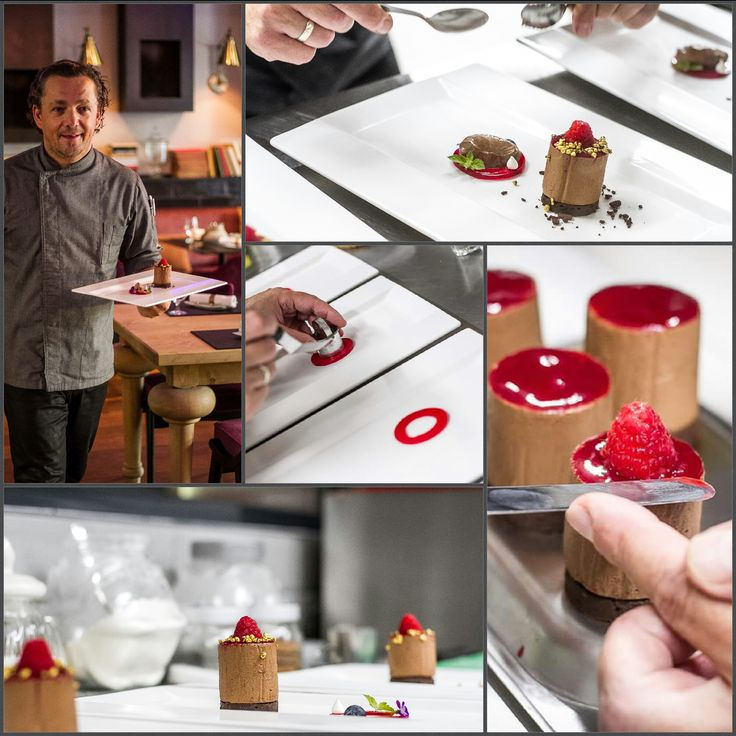 How it is made - Chocolate cake with raspberry cream and ice cream