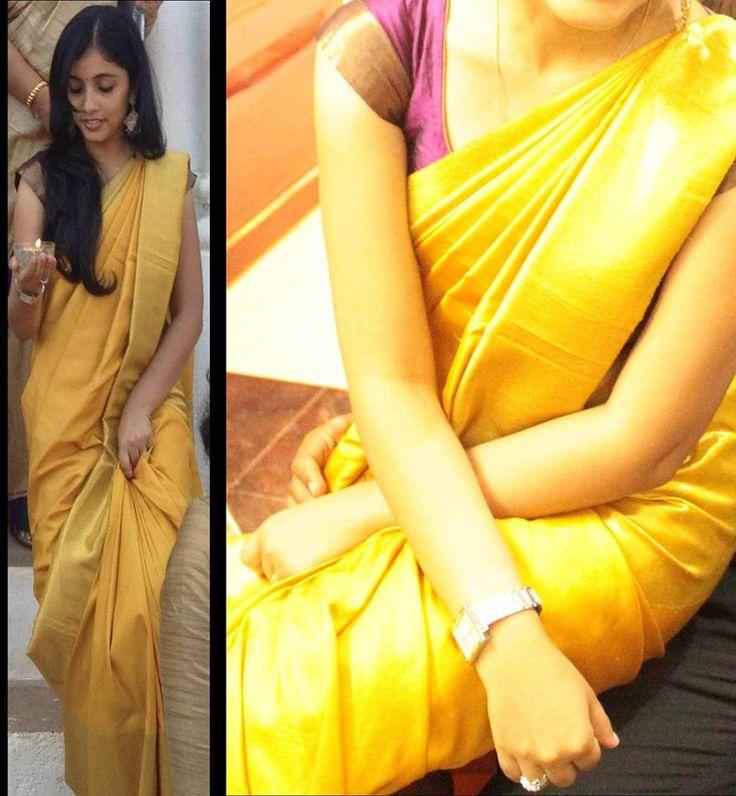 Yellow kanchipuram saree..Kanchi signature collection saree .. https://www.facebook.com/Kanchi-Signature-Collection-353807514697160/timeline/