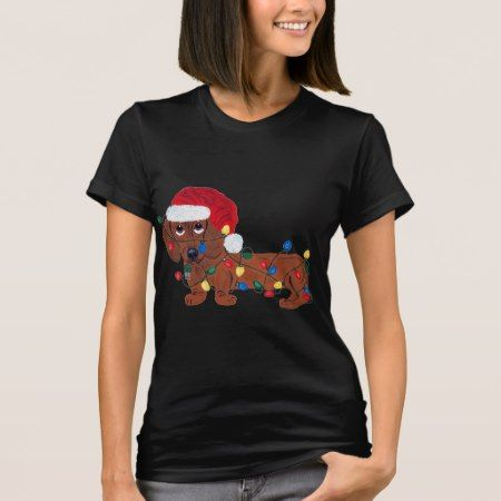 Dachshund Tangled In Christmas Lights (Red) T-Shirt - tap to personalize and get yours