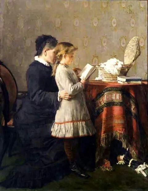 La Lezione della Nonna, 1880-81. Silvestro Lega (Italian, 1826-1895).