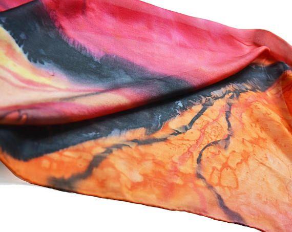 Women Silk scarf- Bright orange red scarf- Hand painted scarf- Shibori scarf- Abstract summer scarf- silk neck scarf- scarfs for women