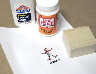 Transfer printed image to wood, etc using washable glue and Modge Podge.