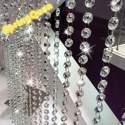 5 cuerdas octágono cristal cordón de ventanas de decoración del hogar partición porche cortina de puerta personalizada cristal cordón de cortina transparente