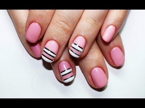 Striping Tape Nail Art Design CND Shellac (nail art con il nastro adesivo) - YouTube