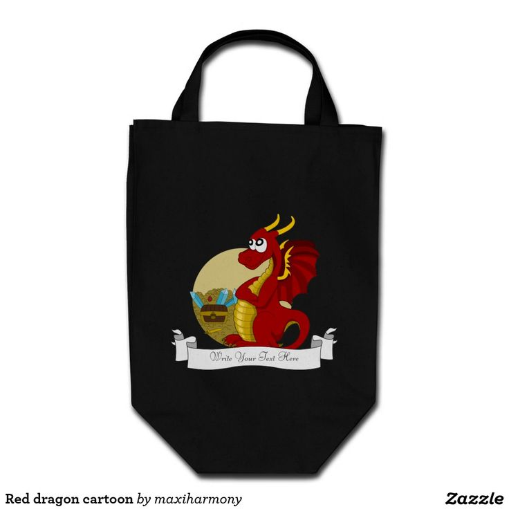 Red dragon cartoon grocery tote bag