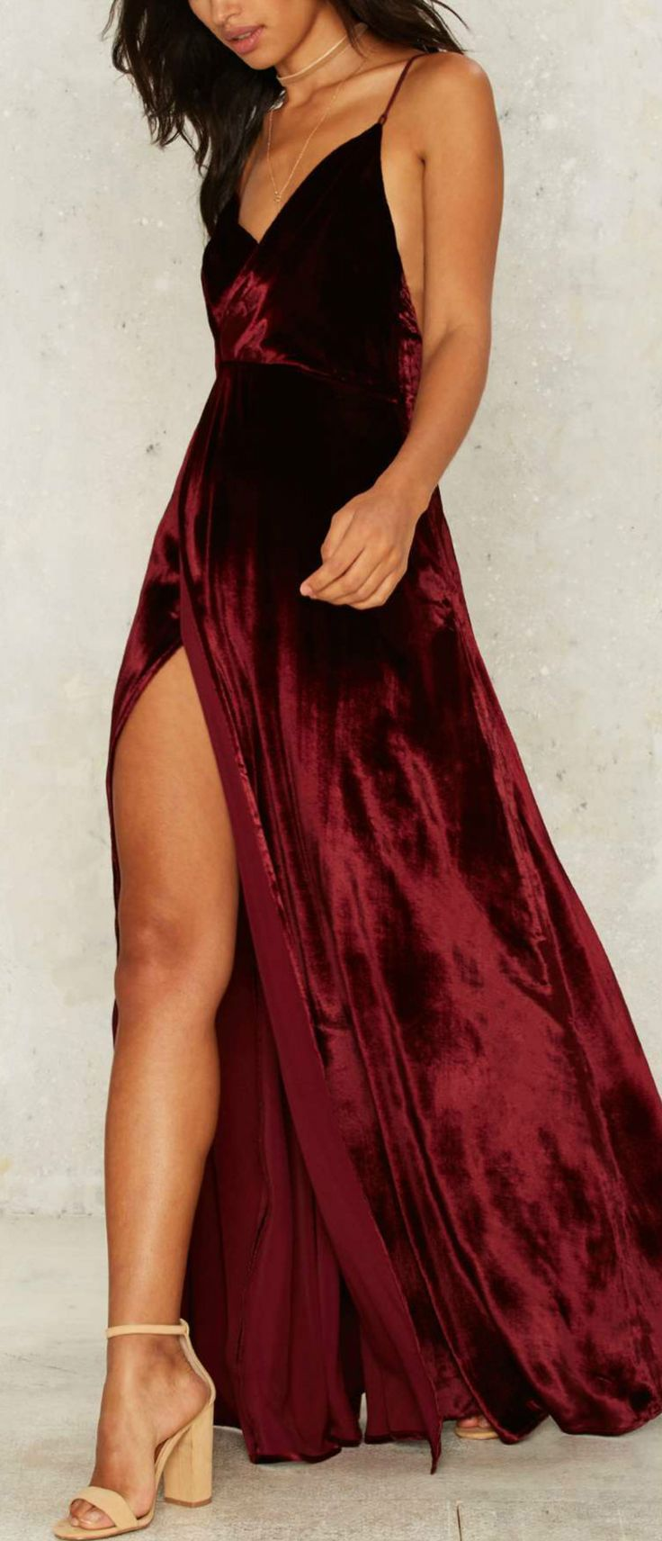 Women's V Neck Backless Velvet Prom Dress