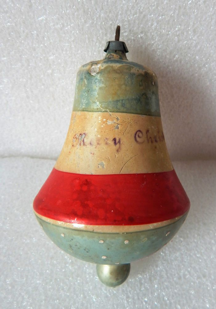 "ANTIQUE VINTAGE PATRIOTIC COLORS BELL CHRISTMAS ORNAMENT W/""MERRY CHRISTMAS"""