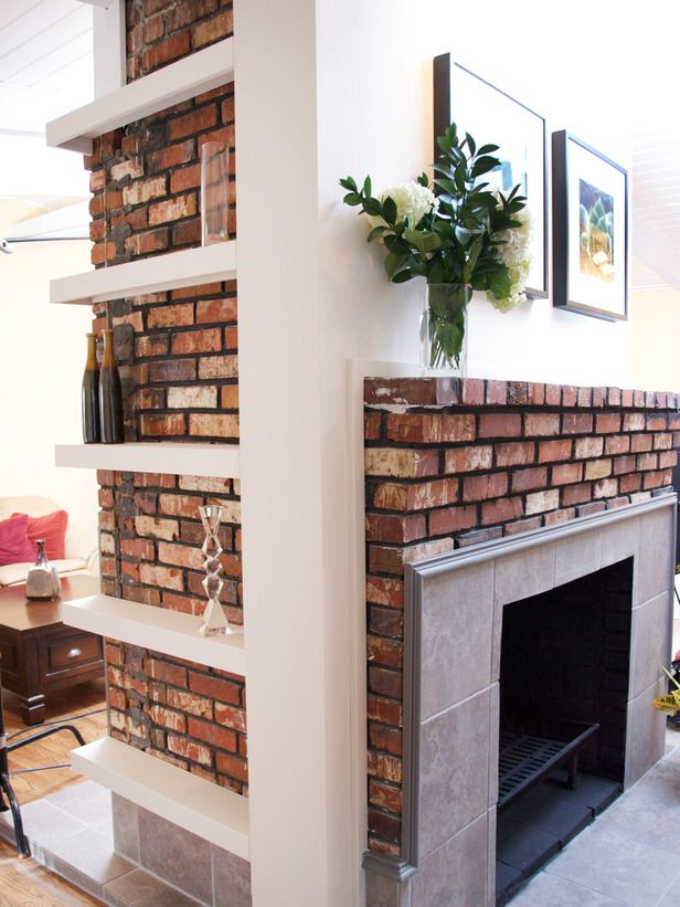 10 smart design ideas for small spaces shelves bricks for Small den with fireplace
