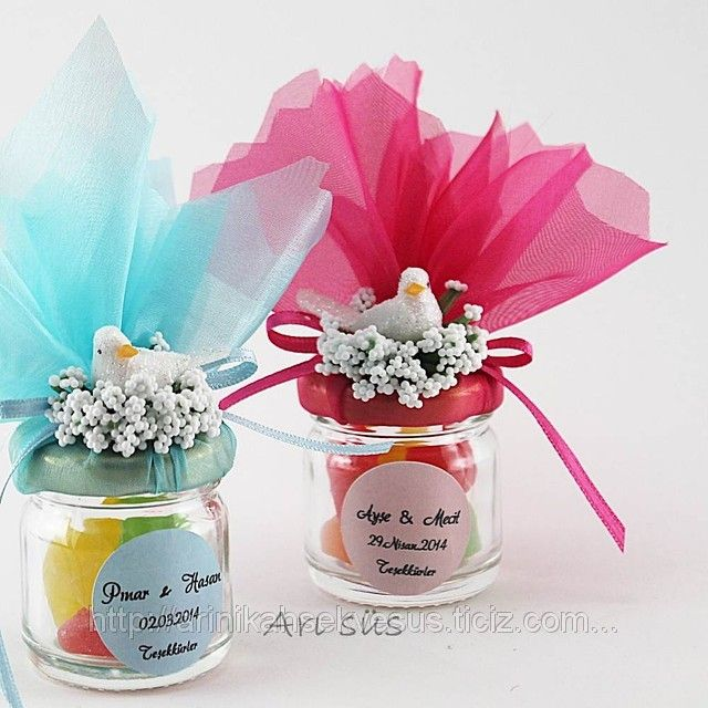 I was thinking for this as favors for something?  We could use old baby food jars, add laddoos, wrap in net, tie in ribbon, and then add something cute on top?
