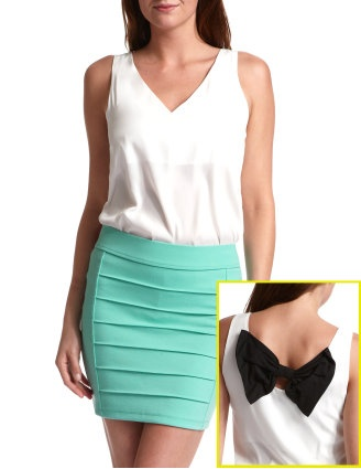 White sheer v-neck tank with a black bow at the back. WANT