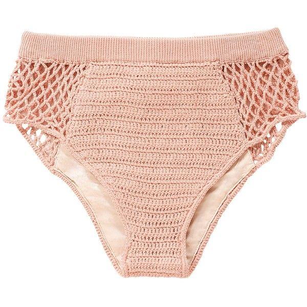Daphne Crochet High Bikini Bottom ❤ liked on Polyvore featuring swimwear, bikinis and bikini bottoms