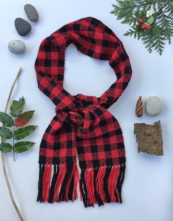 Red Buffalo Check Woven Scarf - Plaid Hand Woven Scarf - Winter Handwoven Scarf - Wool Scarf - Hipster Scarf - Christmas Gift - Gift for Him