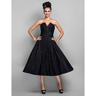 A-line V-neck Tea-length Taffeta Cocktail/Prom Dress(699433) – USD $ 79.99