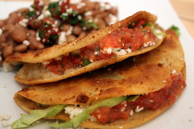 Tacos de Papa (Potato Tacos) and Frijoles de la Olla (Stewed Beans with Pico de Gallo) by J.W. Hamner, via Flickr