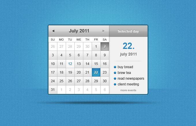Calendar Widget #ui #psd #freebie