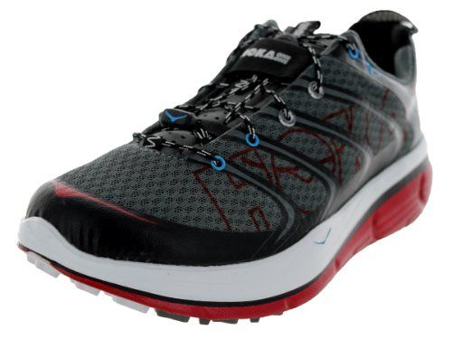 Hoka One One Rapa Nui 2 Trail Running Shoe - Men's Anthracite/Red/White, 8.0. High-abrasion rubber is molded into dirt-gnawing 4mm multi-directional lugs. Claimed Weight: [single] 10.8 oz. Heel / Forefoot Height: 26 / 21 mm. When you give each foot the Men's Rapa Nui 2 Trail Running Shoe from Hoka One One, you'll be bounding along the trail long after your running club has gone home, showered, and started in on their second evening cocktail. From the tips of your little piggies to...