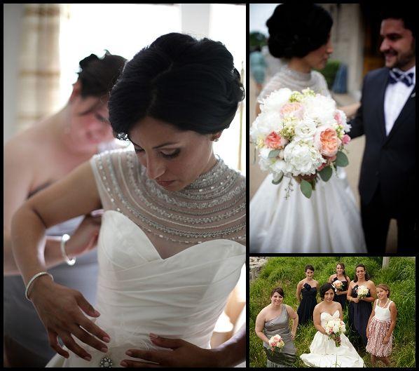 White Wedding Gown Hydrangea: Fleur Couture: Bridal Bouquet Of White Hydrangea And Peach
