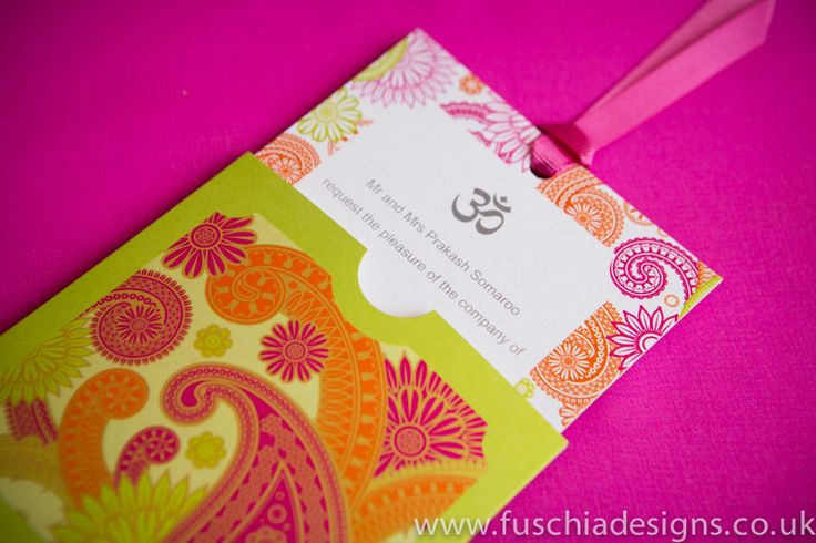 Stunning Asian wedding invitations in wallet style design with matching coloured ribbon.  Can be personalised with religious symbols, names and your dates.  Available in any colour or your choice.  From www.fuschiadesigns.co.uk