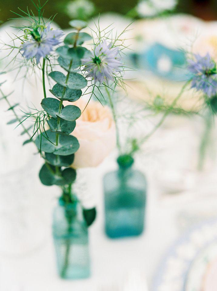 Pale Blue Bottles (Assorted): Narrative Hire  //  Image: Rachel Hayton