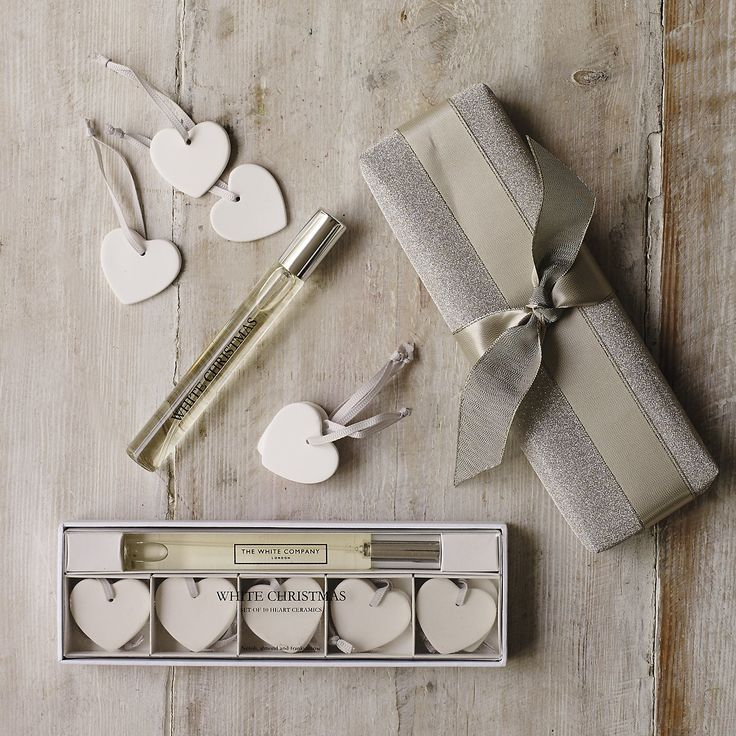 White Christmas Ceramic Heart Decorations Set of 10  from The White Company