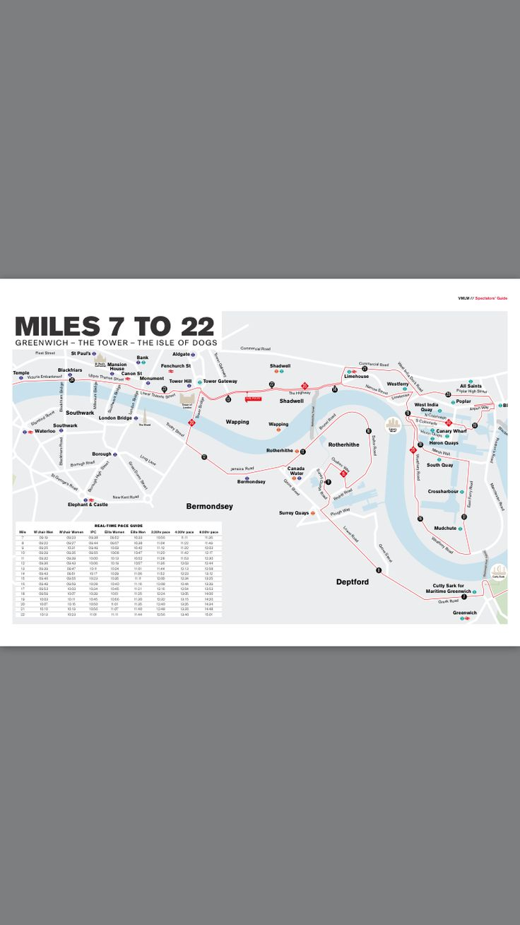London Marathon 2017 Course Map 2