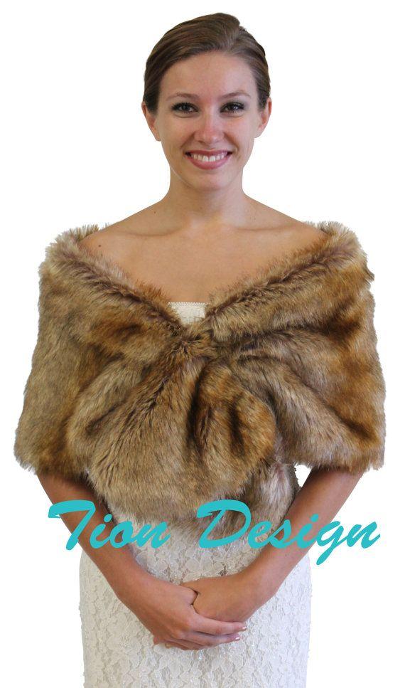 Summer Sale Vintage Brown faux #fur wrap, #bridal wrap, faux fur shrug, faux fur…
