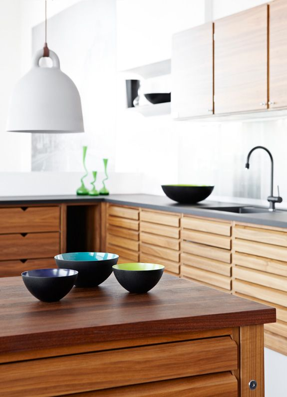 Love the natural wood cupboards and white pendant light by Andreas Lund & Jacob Rudbeck of @Normann Copenhagen. #kitchen