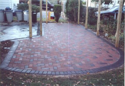 Red Brick Patios | Red Brick Stone Patio with Pewter Blend border - Lower Merion ...