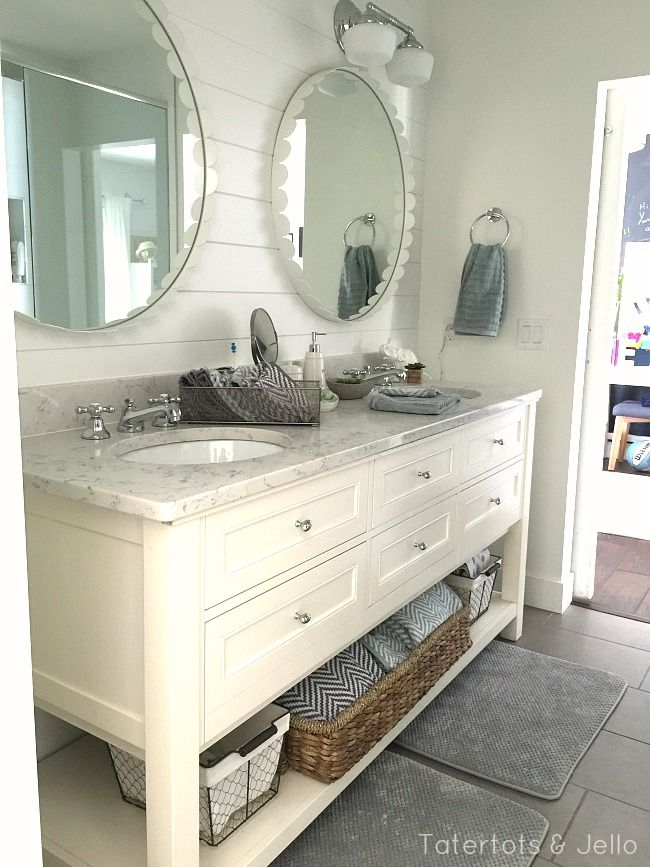 1905 Cottage Addition: Girls' Shared Bathroom Reveal and $100 Walmart giveaway -- Tatertots and Jello