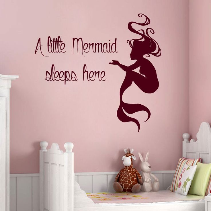Mermaid Wall Decals Quote A Little Mermaid Sleeps Here Vinyl Decal Sticker  Home Interior Design Baby Girl Nursery Room Bedding Decor KG843