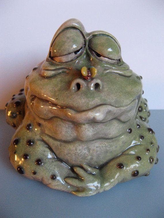 Original OOAK Porcelain Male Frog Face Jug by Art of by artoftwoms, $500.00
