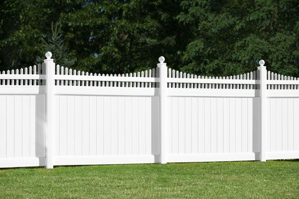 V3707-6 Tongue & Groove Vinyl Privacy Fence with Scalloped Victorian Top and Ball post caps shown in Illusions Classic Series White (C101) Choose from the many different options to create a unique fence for your yard. Available in Grand Illusions Color Spectrum and Vinyl Woodbond.