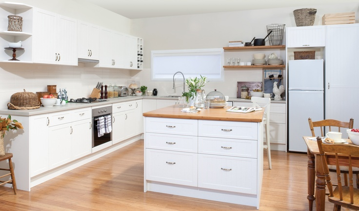 get the look - antique white cabinets with pepper leaf and bamboo benchtops... +kaboodle kitchen