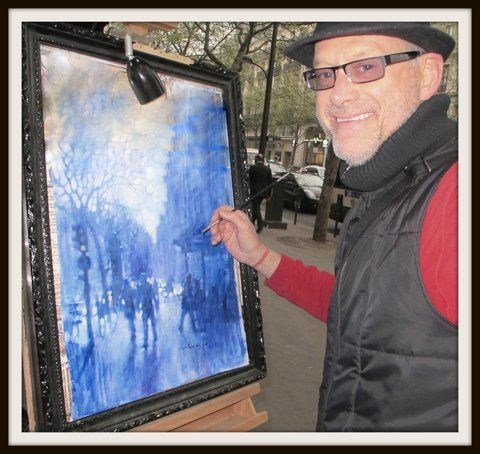 Painting on Boulevard Sebastapol, Le Marais, Paris.