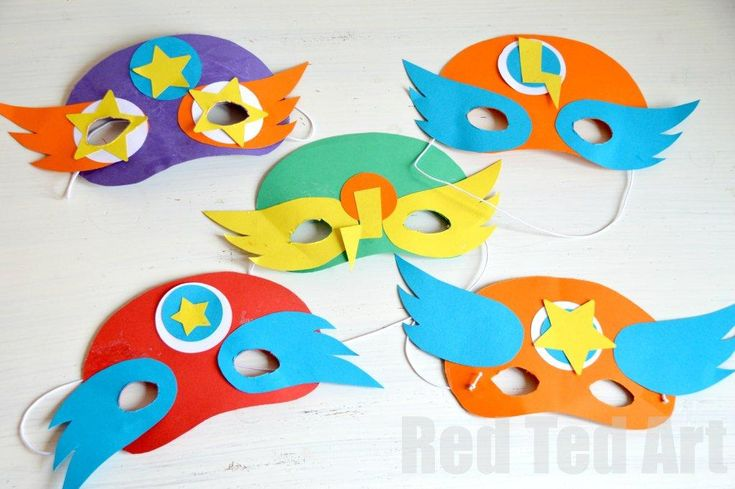 //Superhero Craft activity for a playdate or party. We had some basic shapes and the kids created their unique and wonderful superhero masks. Great fun and the kids *super* happy! (Templates included in post)