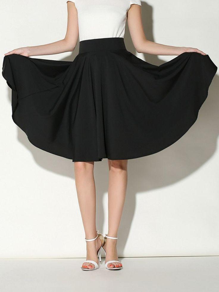 Black, High Waist, Midi, Skater Skirt