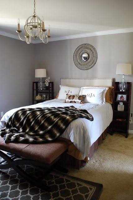 Guest Bedroom Side Tables Shelves Valspar Garden Stone Johns Journal Painted Their Beautiful Master The Gray Paint Looks