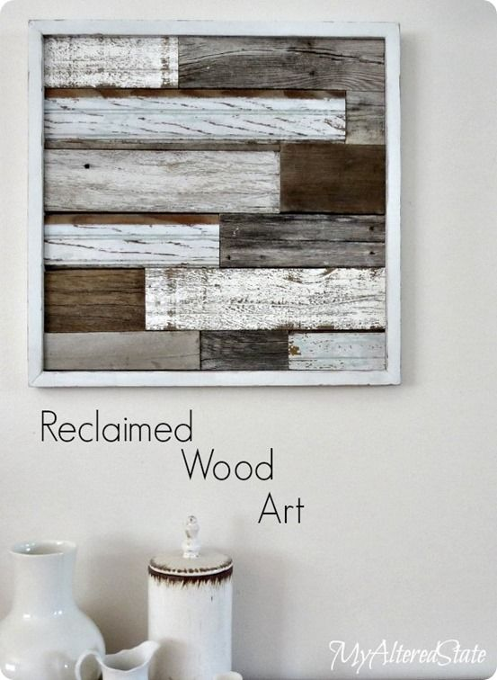 Reclaimed Wood Planked Wall Art | Turn wood scraps into this beautifully rustic wall art inspired by Pottery Barn! All you need is glue!