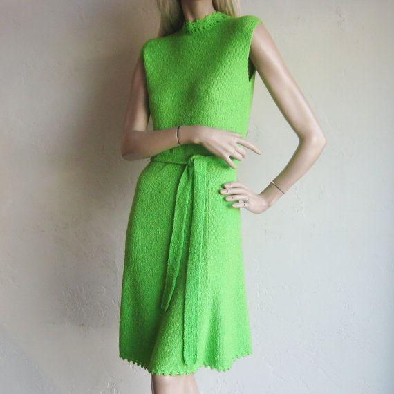 Vintage 60s 70s Designer St. John Knits Lime Green Sweater Knit Dress