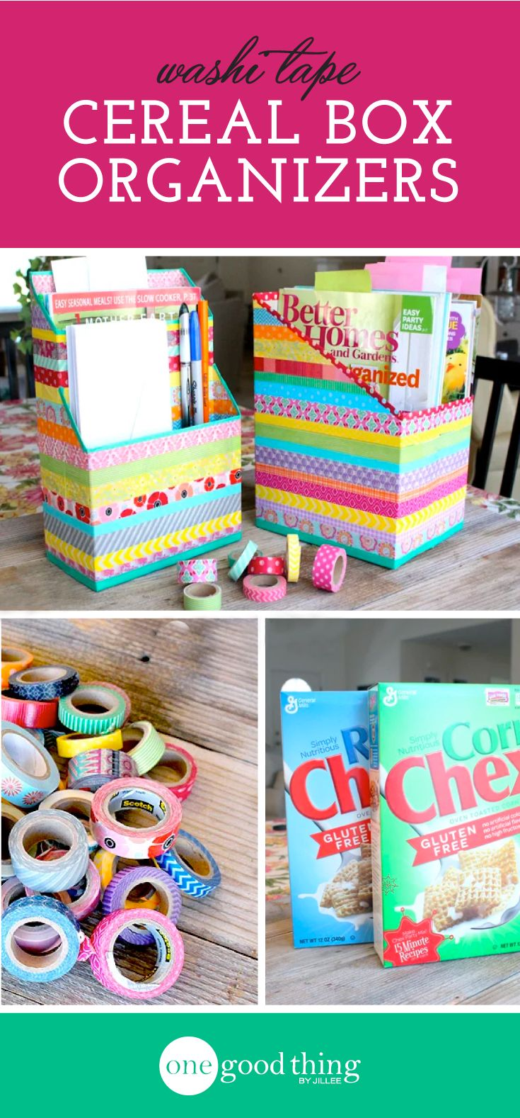 Cereal Box Organizers Need to be making these for my quilting literature, etc.  Can get the Washi Tape at Dollar Tree
