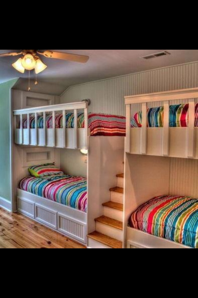Quad built in bunk beds with shelfs Built in bunks, Bunk